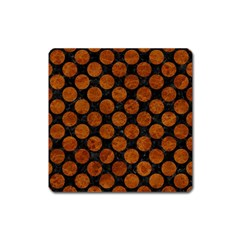 Circles2 Black Marble & Brown Marble Magnet (square) by trendistuff