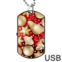 Christmas Baubles Seamless Pattern Vector Material Dog Tag Usb Flash (one Side) by Onesevenart
