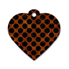 Circles2 Black Marble & Brown Marble (r) Dog Tag Heart (two Sides) by trendistuff