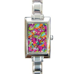 Christmas Elements With Doodle Seamless Pattern Vector Rectangle Italian Charm Watch by Onesevenart