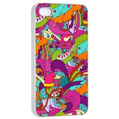 Christmas Elements With Doodle Seamless Pattern Vector Apple Iphone 4/4s Seamless Case (white) by Onesevenart