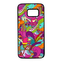 Christmas Elements With Doodle Seamless Pattern Vector Samsung Galaxy S7 Black Seamless Case