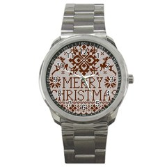 Christmas Elements With Knitted Pattern Vector Sport Metal Watch by Onesevenart