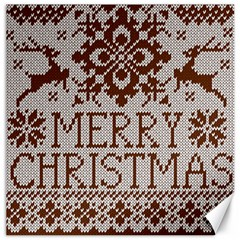 Christmas Elements With Knitted Pattern Vector Canvas 16  X 16   by Onesevenart