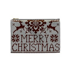 Christmas Elements With Knitted Pattern Vector Cosmetic Bag (medium)  by Onesevenart