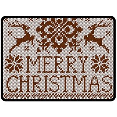 Christmas Elements With Knitted Pattern Vector Double Sided Fleece Blanket (large)  by Onesevenart