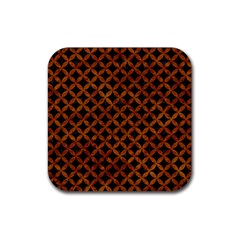 Circles3 Black Marble & Brown Marble Rubber Square Coaster (4 Pack) by trendistuff