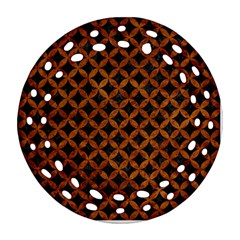 Circles3 Black Marble & Brown Marble Round Filigree Ornament (two Sides) by trendistuff