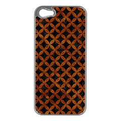 Circles3 Black Marble & Brown Marble Apple Iphone 5 Case (silver) by trendistuff