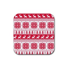 Christmas Patterns Rubber Square Coaster (4 Pack)  by Onesevenart