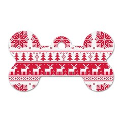 Christmas Patterns Dog Tag Bone (two Sides) by Onesevenart