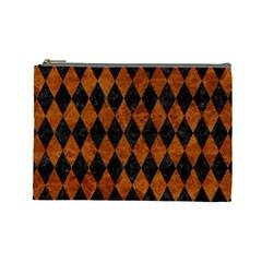 Diamond1 Black Marble & Brown Marble Cosmetic Bag (large) by trendistuff