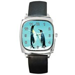 PENGUINS CHATTING SQUARE METAL WATCH