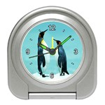 PENGUINS CHATTING ALARM CLOCK (SILVER)
