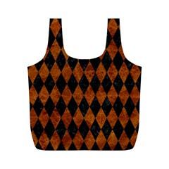 Diamond1 Black Marble & Brown Marble Full Print Recycle Bag (m) by trendistuff