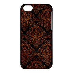 Damask1 Black Marble & Brown Marble Apple Iphone 5c Hardshell Case by trendistuff
