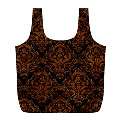 Damask1 Black Marble & Brown Marble Full Print Recycle Bag (l) by trendistuff