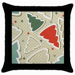 Christmas Tree Stars Pattern Throw Pillow Case (black) by Onesevenart