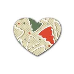 Christmas Tree Stars Pattern Rubber Coaster (heart)  by Onesevenart