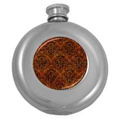 Damask1 Black Marble & Brown Marble (r) Hip Flask (5 Oz) by trendistuff