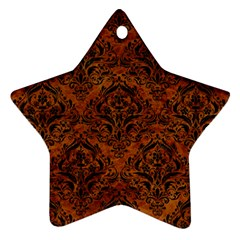 Damask1 Black Marble & Brown Marble (r) Star Ornament (two Sides) by trendistuff