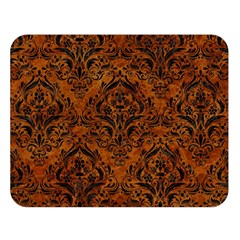 Damask1 Black Marble & Brown Marble (r) Double Sided Flano Blanket (large) by trendistuff