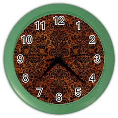 Damask2 Black Marble & Brown Marble (r) Color Wall Clock by trendistuff