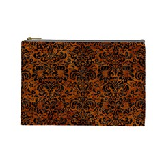 Damask2 Black Marble & Brown Marble (r) Cosmetic Bag (large) by trendistuff