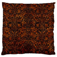 Damask2 Black Marble & Brown Marble (r) Large Flano Cushion Case (one Side) by trendistuff