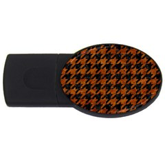 Houndstooth1 Black Marble & Brown Marble Usb Flash Drive Oval (2 Gb) by trendistuff
