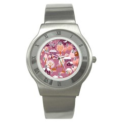 Cute Christmas Seamless Pattern Stainless Steel Watch by Onesevenart
