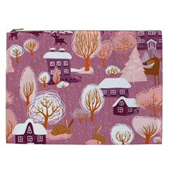Cute Christmas Seamless Pattern Cosmetic Bag (xxl)  by Onesevenart