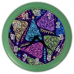 Christmas Patterns Color Wall Clocks by Onesevenart