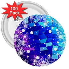 Christmas Snowflake With Shiny Polygon Background Vector 3  Buttons (100 Pack)  by Onesevenart