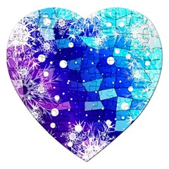 Christmas Snowflake With Shiny Polygon Background Vector Jigsaw Puzzle (heart) by Onesevenart