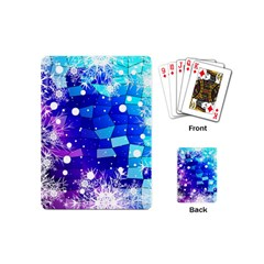 Christmas Snowflake With Shiny Polygon Background Vector Playing Cards (mini)  by Onesevenart