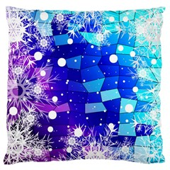 Christmas Snowflake With Shiny Polygon Background Vector Large Cushion Case (one Side) by Onesevenart