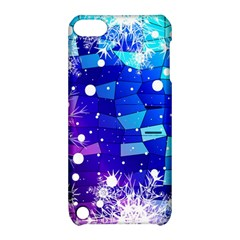 Christmas Snowflake With Shiny Polygon Background Vector Apple Ipod Touch 5 Hardshell Case With Stand by Onesevenart