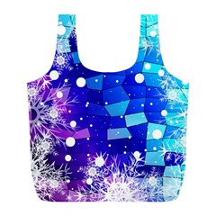 Christmas Snowflake With Shiny Polygon Background Vector Full Print Recycle Bags (l)  by Onesevenart