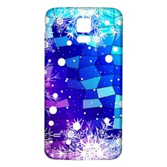 Christmas Snowflake With Shiny Polygon Background Vector Samsung Galaxy S5 Back Case (White) by Onesevenart