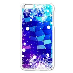 Christmas Snowflake With Shiny Polygon Background Vector Apple Iphone 6 Plus/6s Plus Enamel White Case