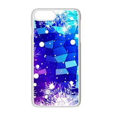 Christmas Snowflake With Shiny Polygon Background Vector Apple Iphone 7 Plus White Seamless Case by Onesevenart