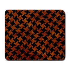 Houndstooth2 Black Marble & Brown Marble Large Mousepad by trendistuff