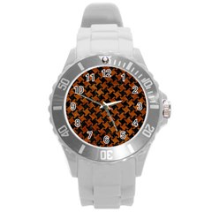 Houndstooth2 Black Marble & Brown Marble Round Plastic Sport Watch (l) by trendistuff