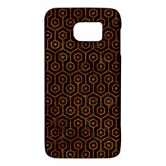 Hexagon1 Black Marble & Brown Marble Samsung Galaxy S6 Hardshell Case  by trendistuff