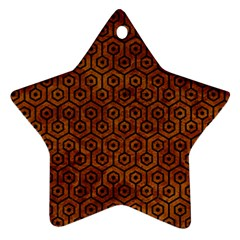 Hexagon1 Black Marble & Brown Marble (r) Star Ornament (two Sides) by trendistuff