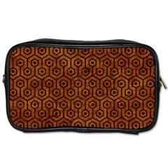 Hexagon1 Black Marble & Brown Marble (r) Toiletries Bag (two Sides) by trendistuff