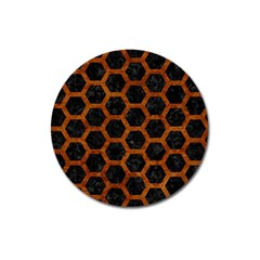 Hexagon2 Black Marble & Brown Marble Magnet 3  (round) by trendistuff