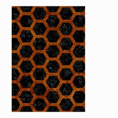 Hexagon2 Black Marble & Brown Marble Small Garden Flag (two Sides) by trendistuff