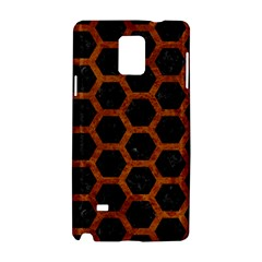 Hexagon2 Black Marble & Brown Marble Samsung Galaxy Note 4 Hardshell Case by trendistuff